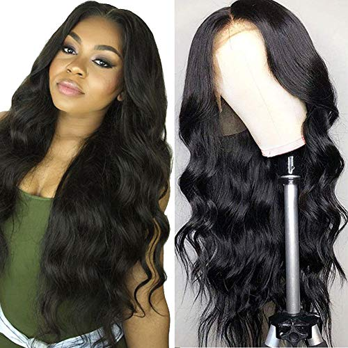 Grace Plus Hair Brazilian Body Wave Lace Front Wig 150% Density Glueless Pre-Plucked Lace Front Wigs For Black Women Natural Color Body Wave Human Hair Wigs with Baby Hair (16inches) (Best Hair Colour For Women Over 50)
