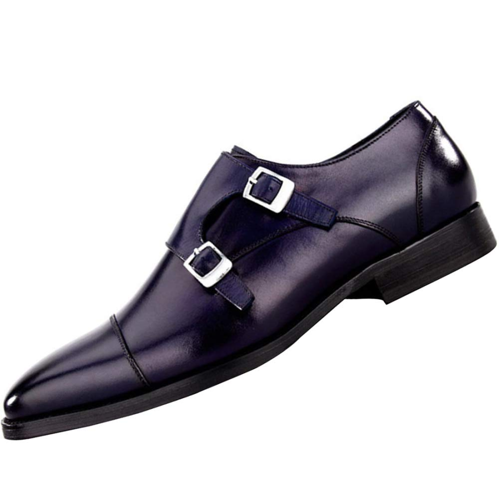 RSHENG Qualität Herren Derby Schuhe Mode Leder Geschäft Casual Schuhe Blau