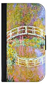 Claude Monets The Bridge in Monet's Garden- Samsung Galaxy S4 i9500-Wallet Case with Flip Cover and Magnetic Clasp-Leather-Look