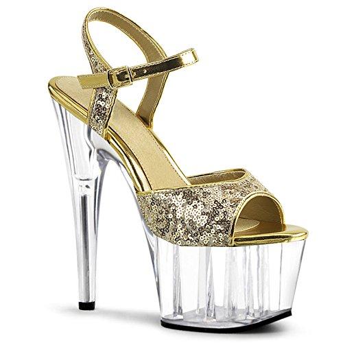 Toe Señoras Fiesta YMFIE para Boda Talones de tacón Toe Sexy Lentejuelas Golden Moda Alto Sandalias rIppAdq4