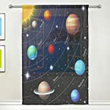 WOZO Magic Universe Solar System Planet Window Sheer Curtain Panels 55''x 84'', 1-Piece Modern Window Treatment Panel for Children Kids Home Living Dining Room Playroom Decoration
