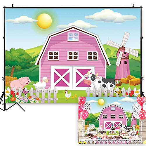 Funnytree 7x5ft Cartoon Farm Animals Party Backdrop Pink Barn Girl Baby Shower Birthday Photography Background Cow Grass Rustic Barnyard Scenic Banner Cake Table Decoration Photo Booth Props