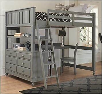 NE Kids Full Loft Bed with Desk (White)