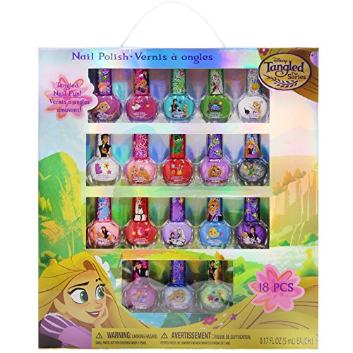 TownleyGirl Disney Tangled Super Sparkly Peel-Off Nail Polish Deluxe Gift Set for Girls, 18 CT (Peel Girls)