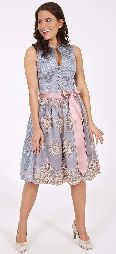 Kirchweih Kr/üger Collection Damen Dirndl Netty 17556 Edles Trachtenkleid zu Oktoberfest Hochzeit und festlichen Anl/ässen Grau Rosa 60cm