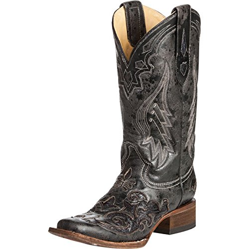 Corral Women's Vintage Python Inlay Cowgirl Boot Square Toe Black 9.5 M US