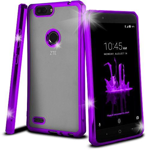 Celljoy Case compatible with ZTE Blade Z Max, ZTE Sequoia [[Chrome Bling TPU]] - High Impact Bumper - Transparent - High Shine - Flexible - Extreme Drop Protection and Grip (Chrome Purple) by CellJoy