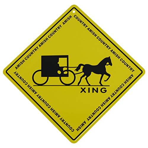 Amish Horse Buggy - Metal Yellow Caution Warning Road Street Sign Amish Crossing Country Decor Gift