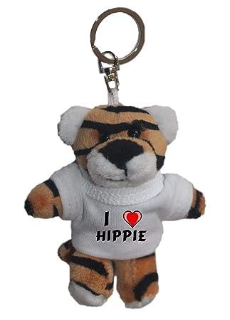 Tigre de peluche (llavero) con Amo Hippie en la camiseta ...