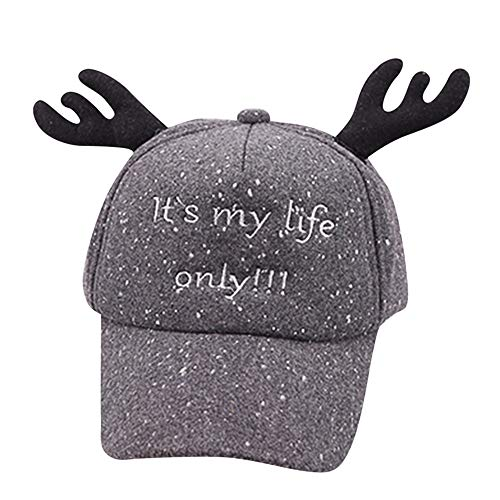 FTXJ Cap Hatt Cute Kids Child Letter Bongrace Christmas Antlers Hat Peak Baseball Cap Sunhat (48-53CM/18.8''-20.8'', ()