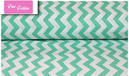 Erstklassiger Baumwollstoff 0,5lfm, 100% Baumwolle, modische Muster, Breite 160cm - Zickzack mintgrün 1,5 cm