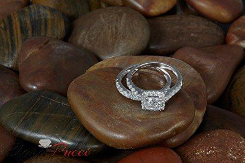 Clara Pucci 1.60 CT Princess Cut CZ Pave Halo Bridal Engagement Wedding Ring Band Set 14k White Gold, Size 8.5 by Clara Pucci (Image #8)