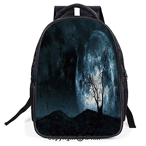 Relaxion Backpack Travel Backpack,Night Moon Sky with Tree Silhouette Gothic Halloween Colors Scary Artsy Background,for Teenagers Men and Women's Backpack ()