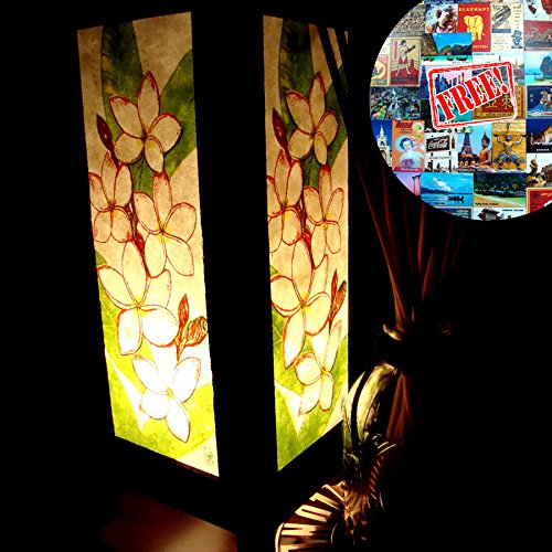 Apple Green Floor Lamp (White Plumeria Flower & Green Leaves Table Lamp Lighting Shades Floor Desk Outdoor Touch Room Bedroom Modern Vintage Handmade Asian Oriental Wood Bedside Gift Art Home Garden Us 2 Pin Plug #657)