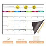 Magnetic Dry Erase Calendar for Fridge, Jr.White Monthly Whiteboard 17'' X 11'' with Stain Resistant Technology, White Board Planner for Refrigerator, 3 Magnetic Markers & Extra Eraser Included