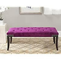 Safavieh Mercer Collection Victor Purple Tufted Nailhead Bench