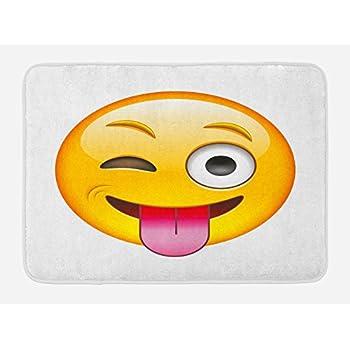Amazon Com Ambesonne Emoji Bath Mat Cartoon Like Smiley