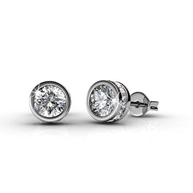 Aituo Silver Earrings Sparkling Crystals P8twne6H3u