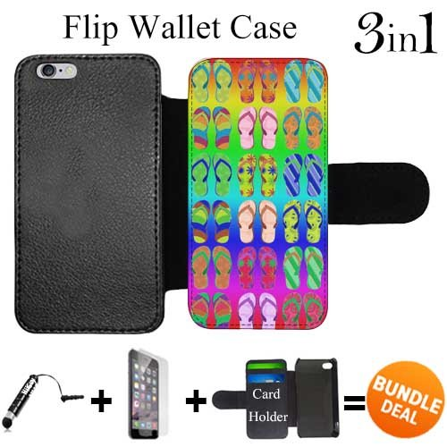 Flip Wallet Case for iPhone 6 Plus/6S Plus (Summer Time Flip Flop Pattern ) with 3 Card Holders | Shock Protection | Lightweight | Includes HD Tempered Glass and Stylus Pen by Innosub (Card Flop Holder Flip)