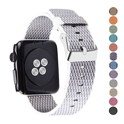 Pantheon Woven Nylon Replacement Band for the Apple Watch by, Women's or Men's, Strap fits the 38mm or 42mm for Apple iWatch 1, 2, 3 and Nike edition (38mm, Woven, White and Gray)