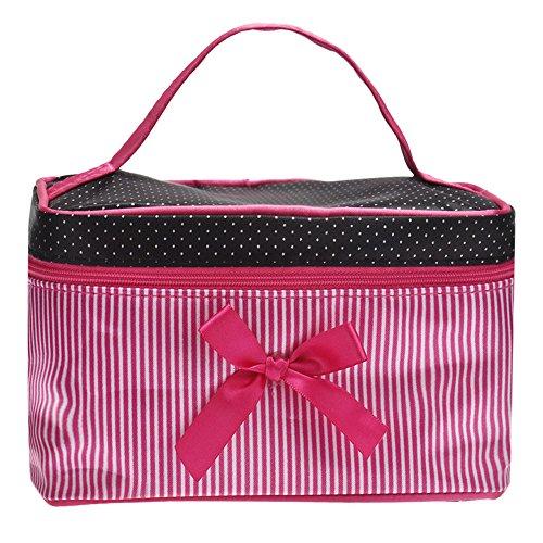DATEWORK Satin Square Bow Stripe Cosmetic Bag (Hot (Satin Makeup Bag)