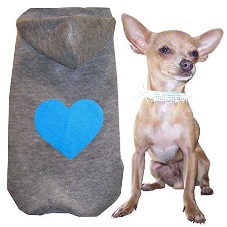 Tamaño XXS - XS - S - M - L color gris corazón azul con capucha polar Soft Perros Jersey Ropa para Perros: Amazon.es: Productos para mascotas