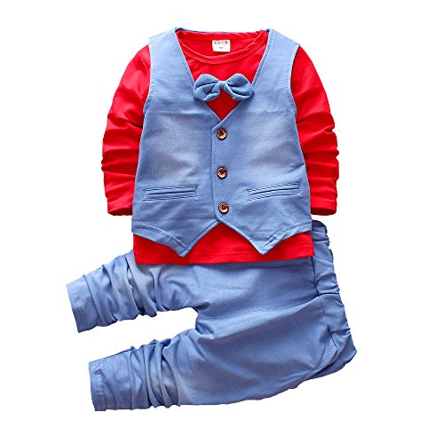 Smgslib Baby Boy 3pcs Clothes Suit Outfit Bowknot Shirt + Single-Breasted Vest + Long Blue - Blues Suit Brothers