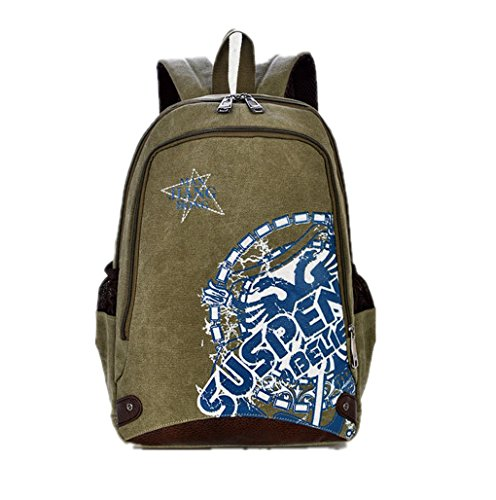 Nasis New Fashion Great Canvas Unisex Retro Vintage Backpack Rucksack for University Outdoor Camping Picnic Sports Laptop Backpack Multi-function Bag AL5035 (green)