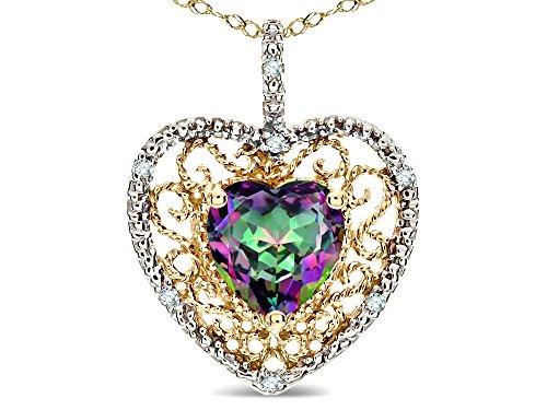 Star K Heart Shape 8mm Rainbow Mystic Topaz filigree Heart Pendant Necklace 14k Yellow Gold