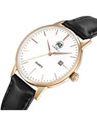 AIBI Womens Watch Quartz Black Leather Band Waterproof Watches For Lady 34mm Case With Date