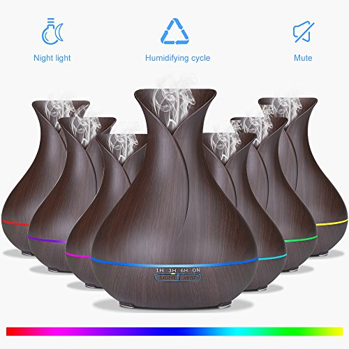 Sealive Aromatherapy Essential Oil Diffuser Portable Ultrasonic Diffusers Cool Mist Humidifier with 7 Colors LED Lights and Waterless Auto Shut-off for Home Office Bedroom Room