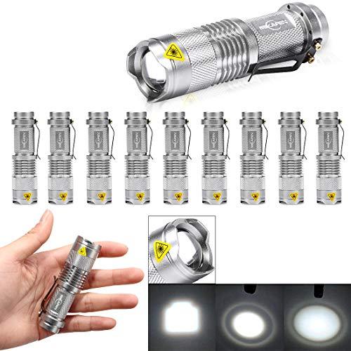 (10 Pack Mini Flashlights LED Flashlight 300lm Adjustable Focus Zoomable Light (Silver))
