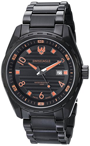 Swiss Eagle Men's SE-9063-66 Engineer Analog Display Swiss Quartz Black Watch
