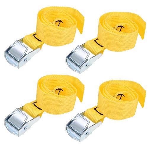 uxcell 荷物ストラップ ラチェット式 ベルト 荷物固定ロープ 荷物落下防止 カムバックル付き 0.5Mx25mm ロード250Kg イエロー 4個入