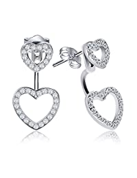 """J.Rosée 925 Sterling Silver Double Hearts """"2 Way"""" Ear Studs Gift for Women Beloved"""