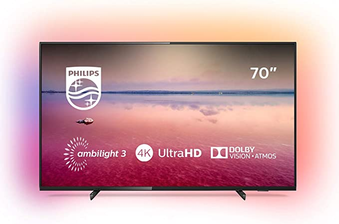 Philips 70PUS6704/12 - Televisor Smart TV LED 4K UHD, 70 pulgadas, Ambilight 3 lados, HDR 10+, Dolby Vision, Dolby Atmos, color negro: Philips: Amazon.es: Electrónica