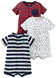 Simple Joys by Carter's Boys' 3-Pack Snap-up Rompers, Red Stripe/White Sailboats/Navy Stripe, 12 Months