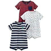 Simple Joys by Carter's Boys' 3-Pack Snap-up Rompers, Red Stripe/White Sailboats/Navy Stripe, 0-3 Months