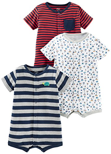 - Simple Joys by Carter's Baby Boys' 3-Pack Snap-up Rompers, Red Stripe/White Sailboats/Navy Stripe, 12 Months
