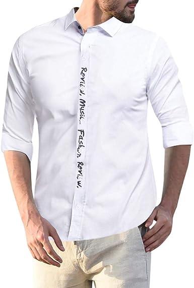 Moginp - Camisa de Manga Larga para Hombre con Reverso, Corte Fino, Color Puro Blanco 40: Amazon.es: Ropa y accesorios