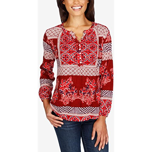 Lucky Brand Women's Printed Knit Top, Red/Multi, X-Small - Woman Printed Knit Top