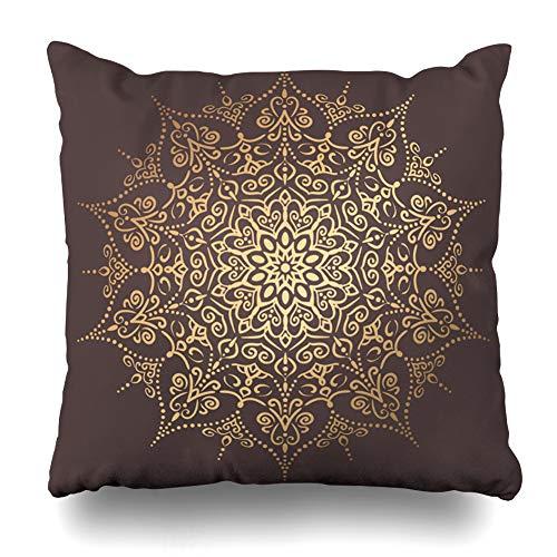 Pandarllin Throw Pillow Cover Anti Ancient Golden Round Vintage Stress Arabesque Authentic Beads Design Cushion Case Home Decor Design Square Size 20 x 20 Inches Pillowcase