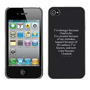 rígido protector delgado Shell Prima Delgada Casa Carcasa Funda Case Bandera Cover Armor para Apple Iphone 4 / 4S /Happier Wiser Inspiring/ STRONG