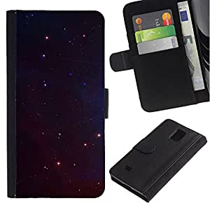 LASTONE PHONE CASE / Lujo Billetera de Cuero Caso del tirón Titular de la tarjeta Flip Carcasa Funda para Samsung Galaxy Note 4 SM-N910 / Night Universe Stars Space Cosmos