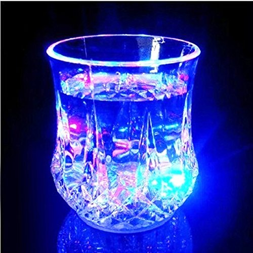 Topwell® 7 Oz Automatic Light When Pour Water LED Light Up Drinkware Plastic Tumbler Cups Mug sensor light up drinkware Bubble Rocks- blinking octagonal Water Activated Color Change Flash Light LED Beer Whisky Shot Glass Cup For Bar Club Night Party