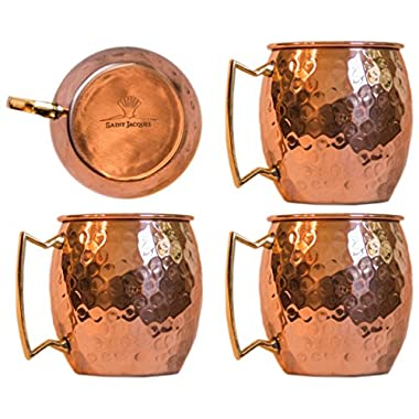 Moscow Mule 100 % Solid Pure Copper Mug /Cup (16-ounce/set of 4, Hammered, Nickel Lined)- Saint Jacques