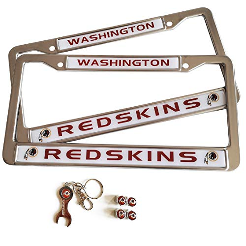 Washington Redskins Four - MT-Sports Football Team 2 Pcs Car Licenses Plate Stainless Steel Frames & 4 Pcs Tire Valve Stem Caps (Washington Redskins)