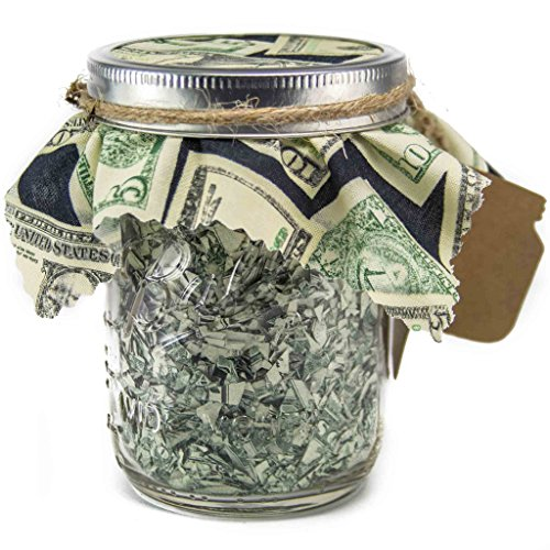 Pint Mason Jar Stuffed With Shredded US Currency Money - Creative Gift Card Holder