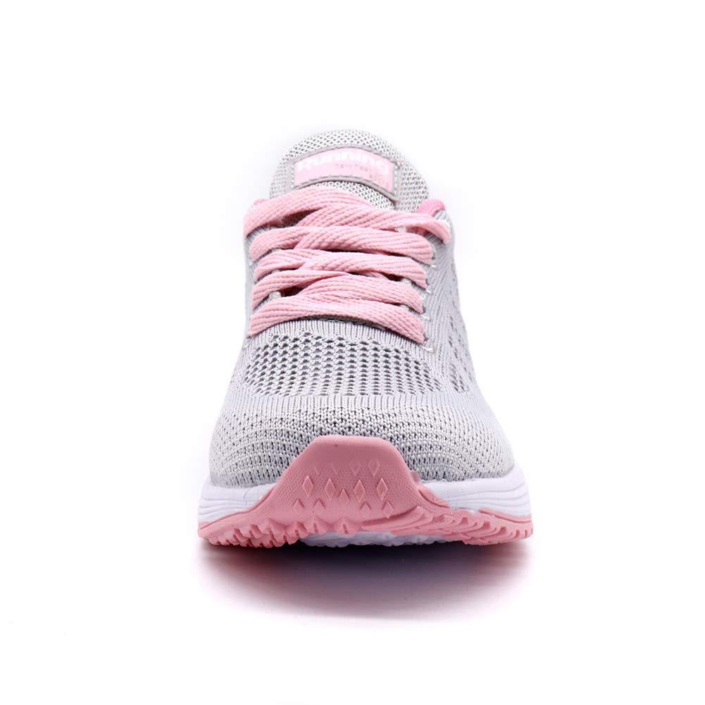 HKR Donna Scarpe da Ginnastica Corsa Sportive Fitness Running Sneakers Basse Interior Casual allAperto Scarpe da Soft Tennis Bianco Nero Grigio Viola EU 35-42