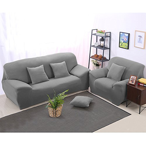 Stretch Seat Chair Covers Couch Slipcover Sofa Loveseat Cover 9 Colors/4 Size Available for 1 2 3 4 Four People Sofa + Pillowcase (74